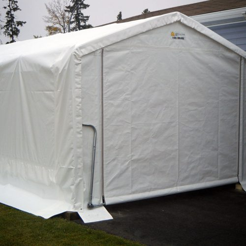 12' wide x 24 long with a roll up door that is 9' wide x 7' high.